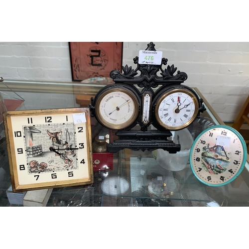 476 - A late 19th/early 20th century cast metal mantel clock and barometer; a German novelty mantel clock ...