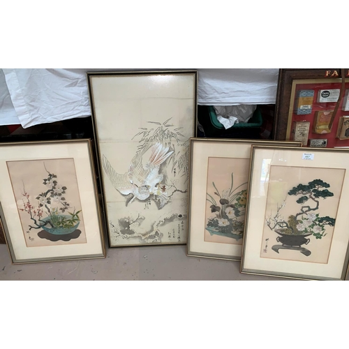487 - Three oriental paintings on silk with matching character mark stamp, still life of flowers, another ...