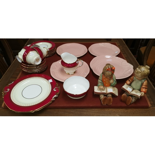 161 - a Paragon part tea set, Clarice Cliff salmon plates and 2 Goebels style figures