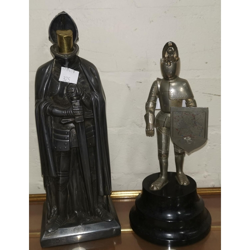 325 - Two early/mid 20th century  novelty table lighters in the form of knights in armour, height 8.5