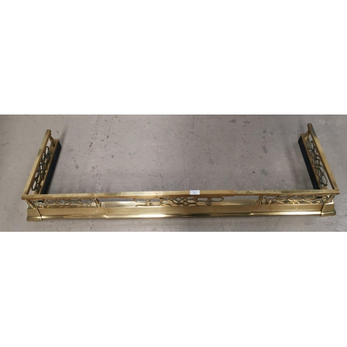 398 - A Victorian style brass fender; coal bucket; fire irons; etc.; a wall mirror...