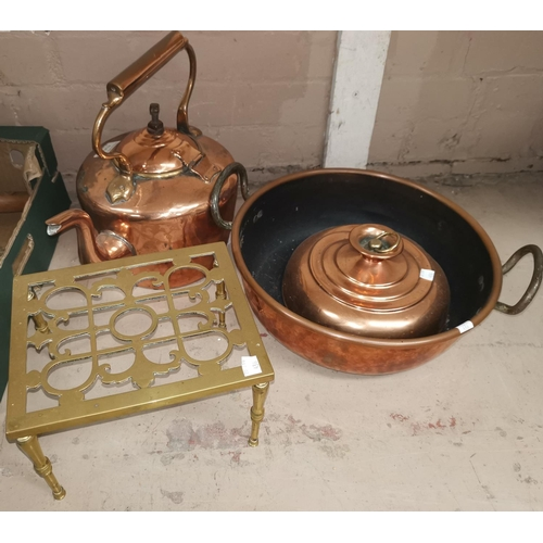 436 - A 19th century copper kettle and bowl; metalware; tins; silver plate; etc....