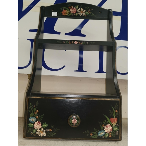 439 - A black lacquered wall shelf unit; an oriental 6 drawer cabinet; a wrought iron wall light; a picnic...