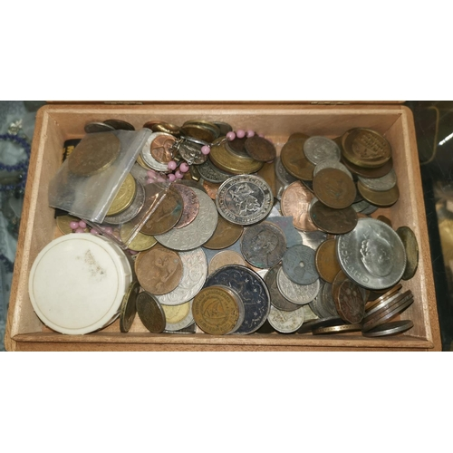 447 - A cigar box containing coins and medallions, including an 1868 QV Gothic head florin...