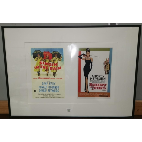483 - Two reproduction classic film posters framed as one: