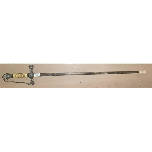 489 - A 19th century American ceremonial sword, Knights of Columbus Masons, named to EW Hale, with engrave...