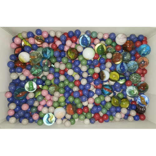 508 - A bone and bamboo Mahjong set; a quantity of coloured clay and glass marbles...