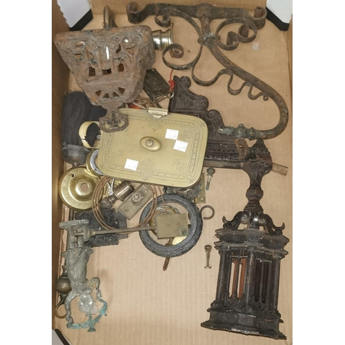 512a - A cast iron light bracket of Gothic design; other metalware...