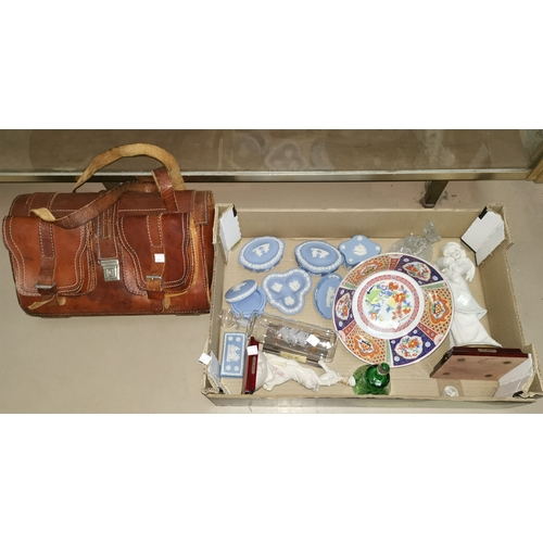 475 - A leather satchel; 2 composition figures; Wedgwood jasperware; other decorative items...