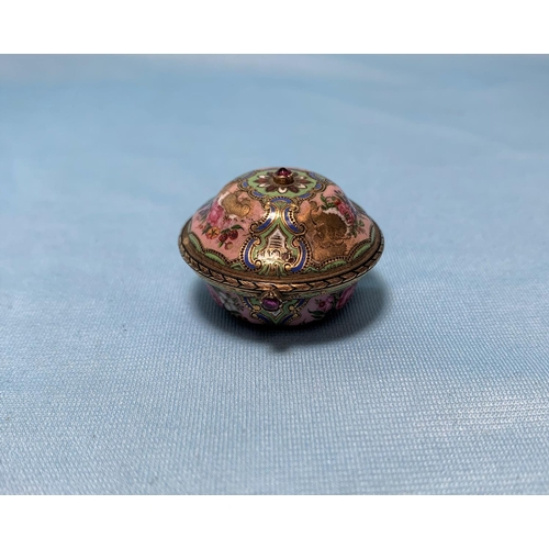 331 - AQ 19th century gold and enamel vinaigrette, set 2 faceted red stones, tests 18 ct, 15 gm (some loss...