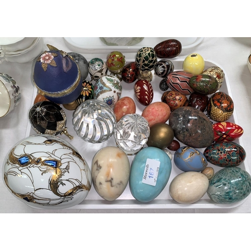 167 - A collection of Fabergé style eggs; other decorative eggs...