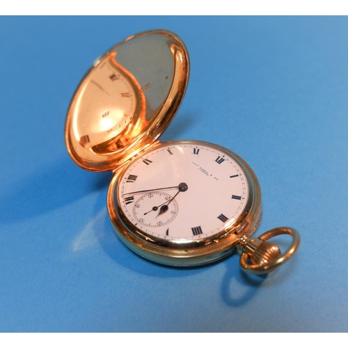 342 - An 18 carat hallmarked gold gent's keyless hunter pocket watch by Thos Russell & Son, Liverpool (gro...