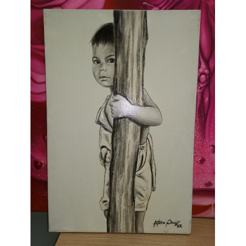 524A - Arturo Perez (Mexican artist): oil on canvas, a boy behind a pillar, signed and dated '68, 24