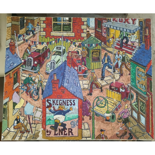 525 - Joe Scarborough (Sheffield artist b. 1938): Street Scene with figures, oil on canvas, signed to bott...
