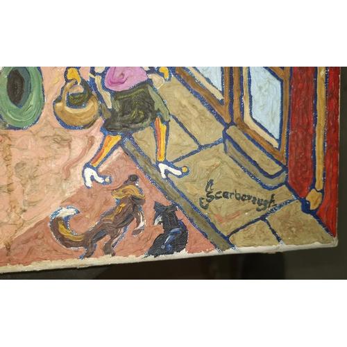 525 - Joe Scarborough (Sheffield artist b. 1938): Street Scene with figures, oil on canvas, signed to bott...