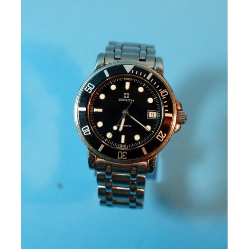 344 - A gent's stainless steel Zenith Rainbow diver's watch with gloss black dial, luminous silver markers...