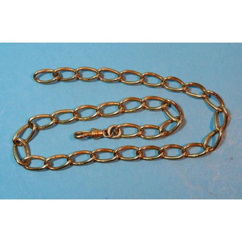 394 - A 18 carat curb chain albert, heavy large links, with clip, 54.5 gm...