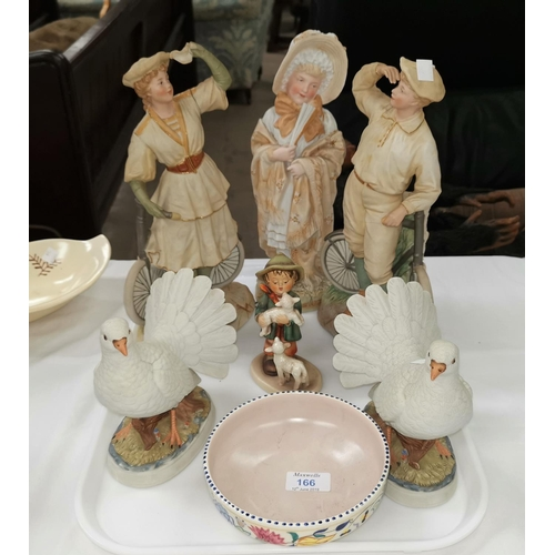 166 - A Victorian bisque figure of a girl; 2 Victorian style figures of cyclists (a.f.); a 1950's Poole bo...
