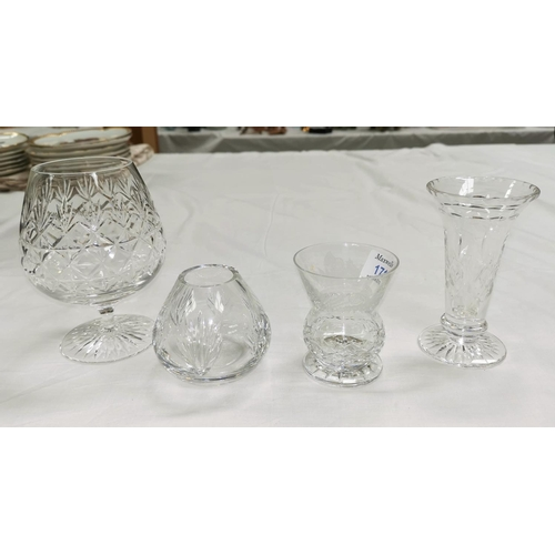 171 - An Edinburgh etched thistle glass and another, a large Stuart Crystal brandy glass and a similar vas...