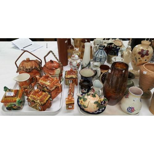 174 - A selection of cottage teaware; a 1960's Poole vase; a lava ware vase; an Art Deco vase; etc....