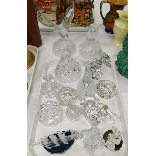 175 - Five large Swarowski style glass animals and a selection of glassware...