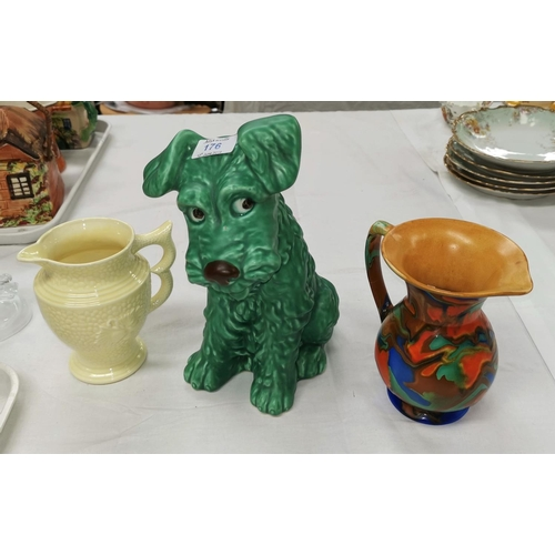 176 - A large green Sylvac seated dog numbered 1380, height 11.5