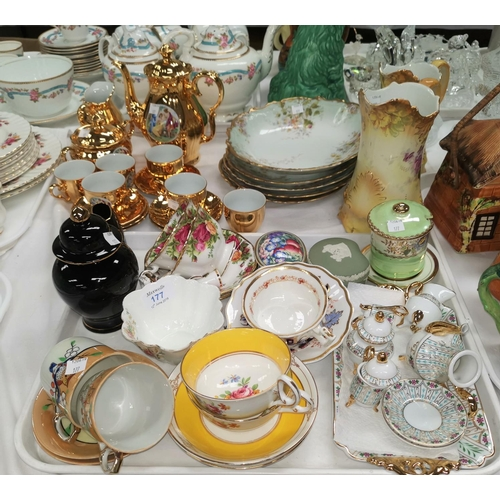 177 - A Foley China Victoria's Long Reign cup, other decorative tea ware...