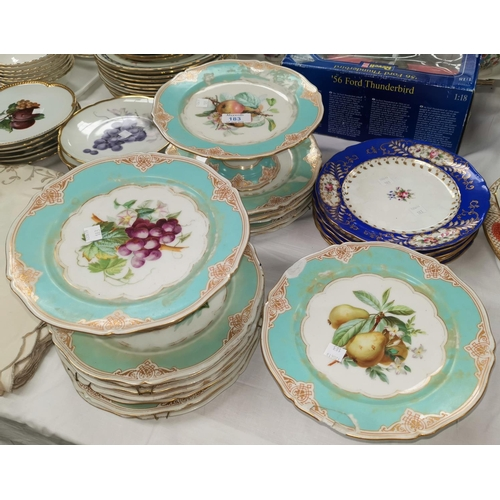 183 - A late 19th century French porcelain dessert service of 15 pieces; 6 English china cabinet plates...
