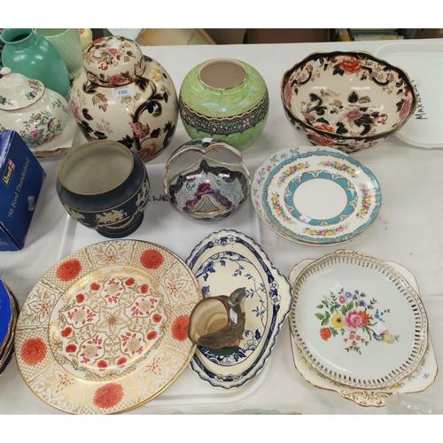 186 - A large Mason's ginger jar; a similar fruit bowl; a selection of decorative china...