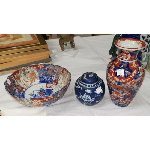 187 - An Imari blue & white dish, 11