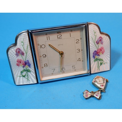 195A - A 1930's Smiths dressing table clock with square chrome framed central clock flanked on either side ...