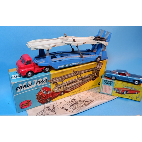 255D - Three originally boxed Corgi Toys diecast vehicles: 1101 Carrimore car transporter (box some wear an...