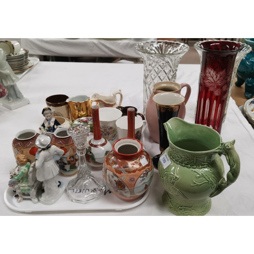 199 - A selection of decorative china and glass:  a musical jug; Dresden style figures; vases; etc....