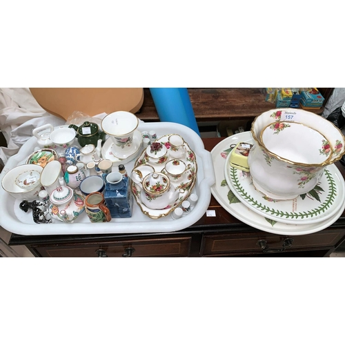 157 - A Royal Albert Old Country Roses miniature tea set and tray; 2 jardinieres and miniature china...