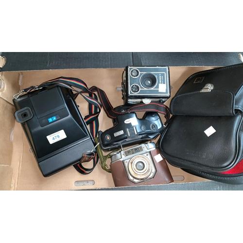 479 - A Kodak EK160-EF Instant camera; a German camera; a box Brownie; a Nikai-TEC...