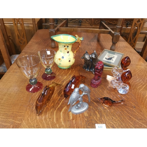 154 - 4 Wedgwood glass animals, 2 Krono goblets etc...