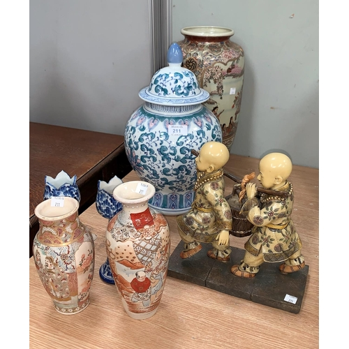 156 - A selection of oriental vases and figures etc...
