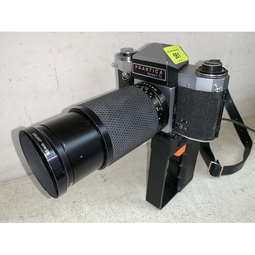 561 - A PRAKTICA SLR Camera with 75 - 200mm lens and pistol grip and release, a selection of other cameras...