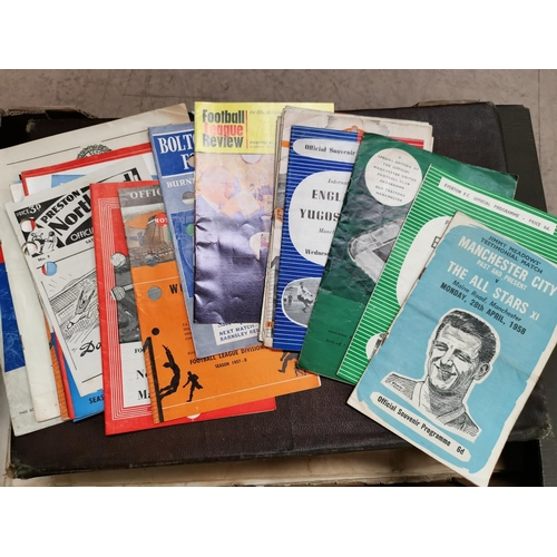 615 - MCFC: Jimmy Meadows Testimonial 28.4.1958, a selection of 50's international programmes etc...
