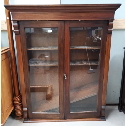 45 - A Victorian mahogany bookcase top enclosed by 2 glazed doors...