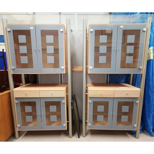 51 - A modern full height display cabinet in lightwood, glass and grey metal and another matching