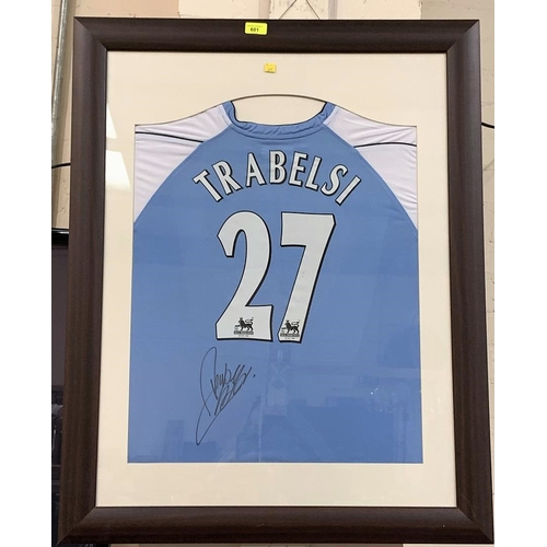 90 - A Manchester City shirt signed by Hatem Trabelsi, f&g...