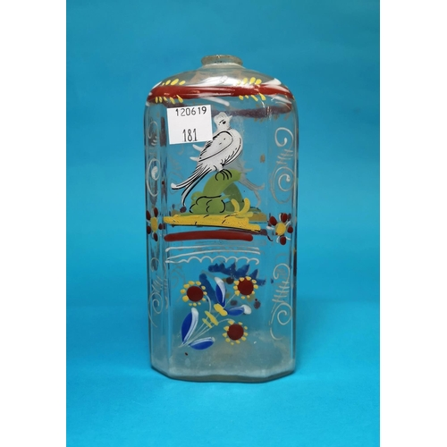 181 - An antique Venetian style glass bottle decorated in coloured enamels...