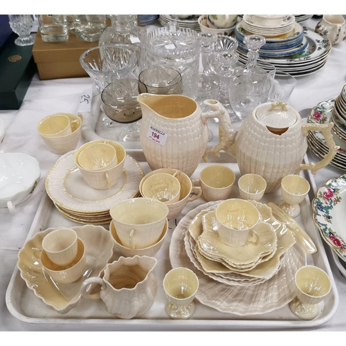 194 - A selection of Belleek china shell pattern teaware; etc. 30 pieces approx; a cut glass decanter; oth...