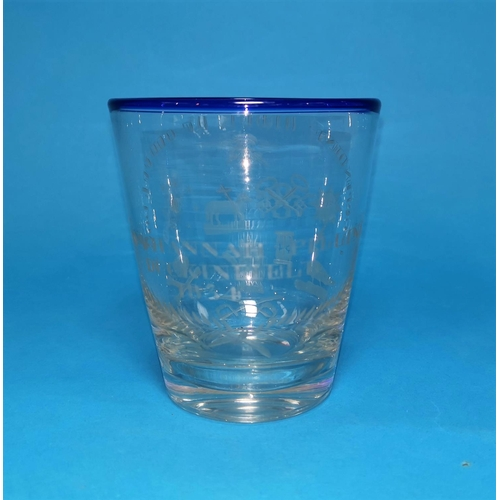 218 - An engraved ceremonial glass for the Order of Oddfellows, with blue rim, engraved: