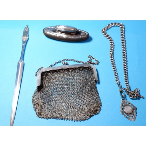 334 - A ladies hallmarked silver mesh evening purse; a hallmarked silver QEII Coronation paperknife; a hal...