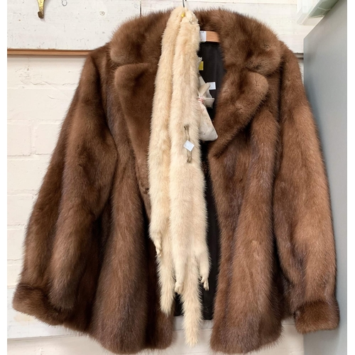511 - A mink jacket & white fur scarf...