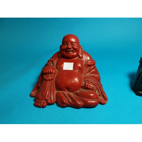 282 - A heavy green hardstone Chinese Buddha figure, height 4.5