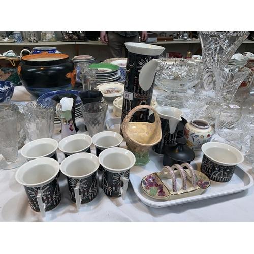 219 - A Portmeirion Magic Cities coffee set; a Gray's pottery toast rack; a Poole vase; etc....