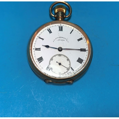345a - An early 20th century pocket watch in 9 carat gold case, the dial signed John Bennett Ltd, London...